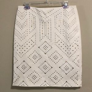 White House Black Market Embellished Skirt SZ8 New